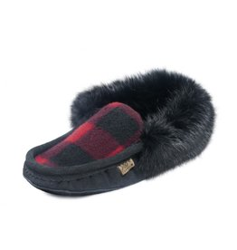Mens Black & Red Flannel Slipper with Fur