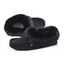 Mens Black Suede Slipper with Fur