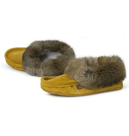 Mens Indian Tan Suede Slipper with Fur