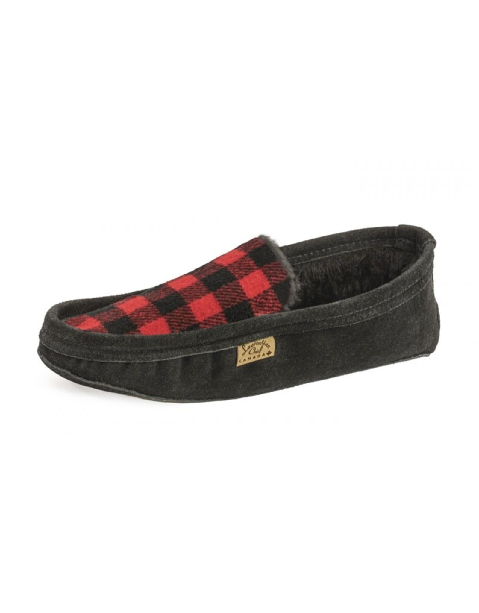 Mens Black & Red lined Flannel Slipper - 60637BLRM
