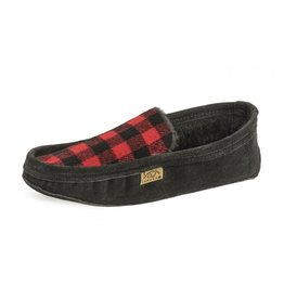 Mens Black & Red lined Flannel Slipper