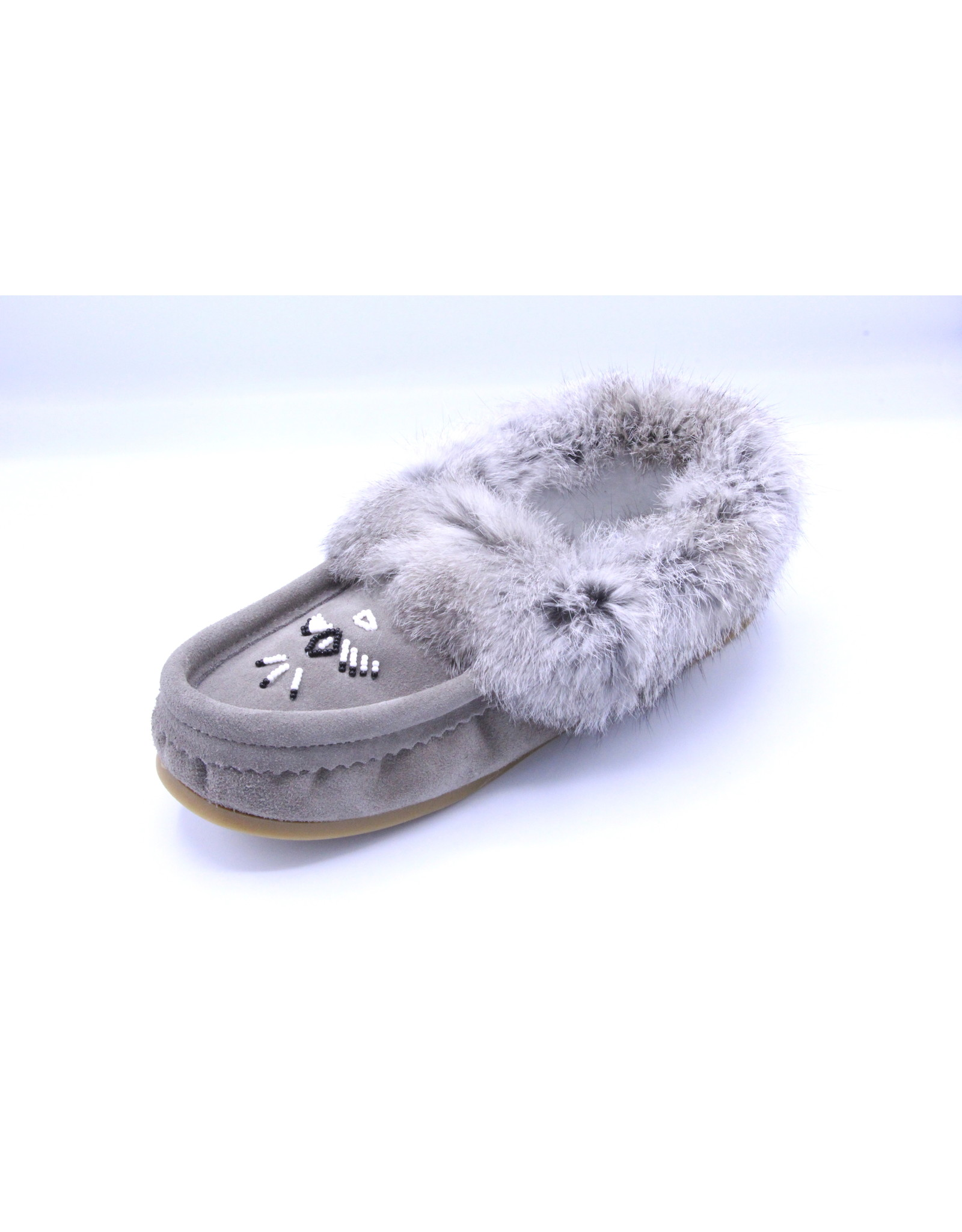 Ladies Grey Suede Fur Moccasin Slipper with Sole - 13660L