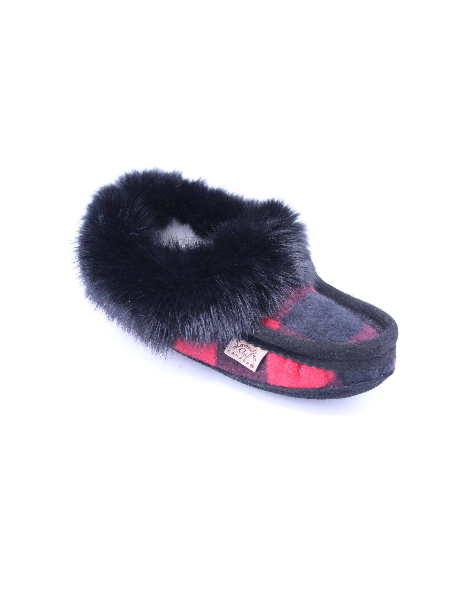 Ladies Black & Red Flannel Slipper with Fur - 606BLL