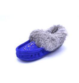 Ladies Royal Blue Suede Fur Moccasin Slipper