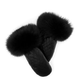 Quilted Leather Mitt with Fox Trim Black/Black