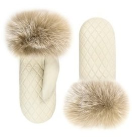 Quilted Leather Mitt with Fox Trim Ivory/Blush - S/M