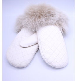 Quilted Leather Mitt with Fox Trim White/Blush - M/L