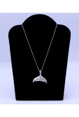 Whale Tail with Sapphire & Gold Necklace by Hollie Bear - HBN04