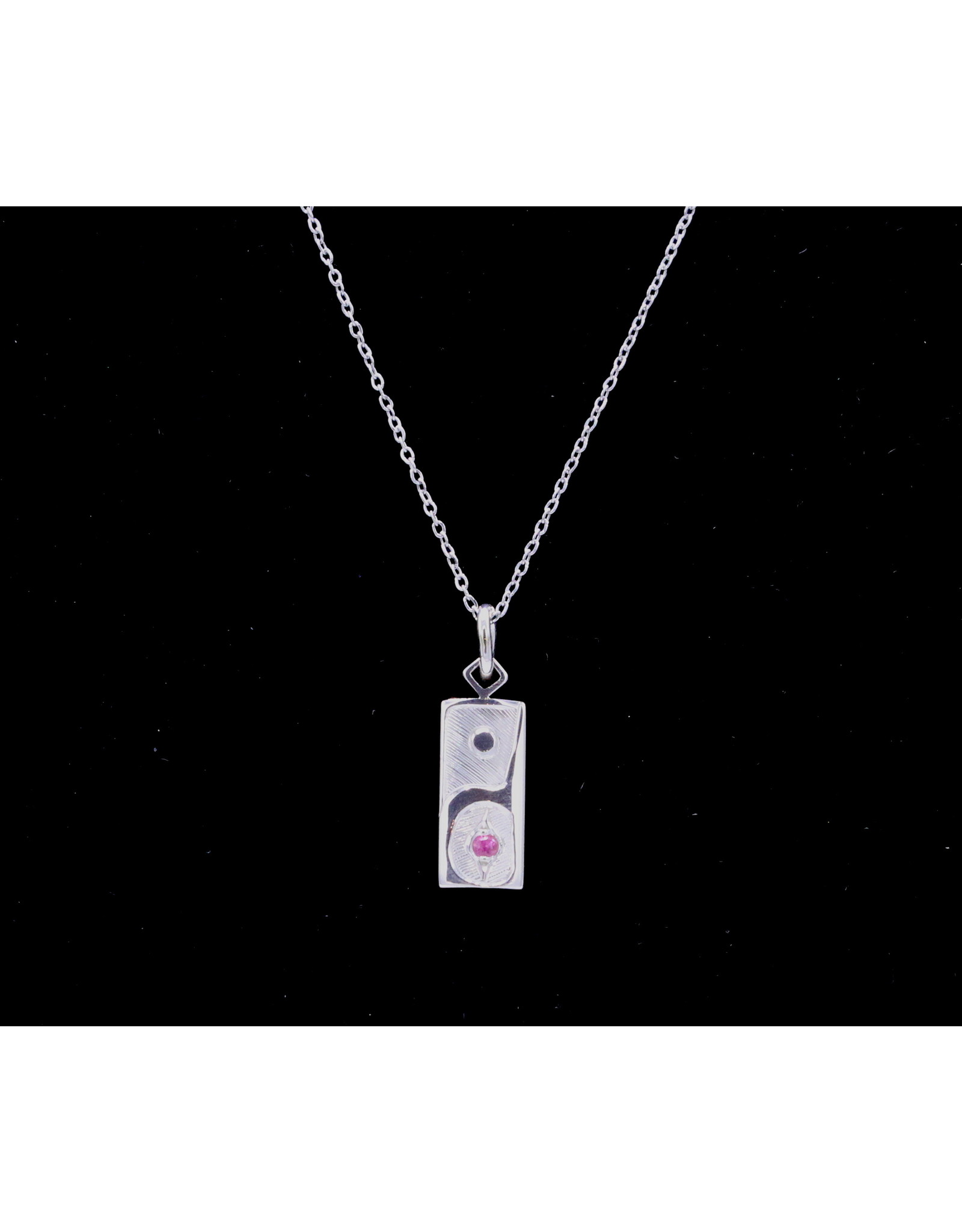 Hummingbirds Rectangle with Pink Tourmaline Necklace by Hollie Bear - HBN09