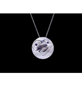 Round Raven with Amethyst Necklace by Hollie Bear