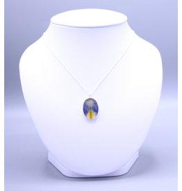 Quebec Blue Flag Iris 25x19mm Silver Necklace