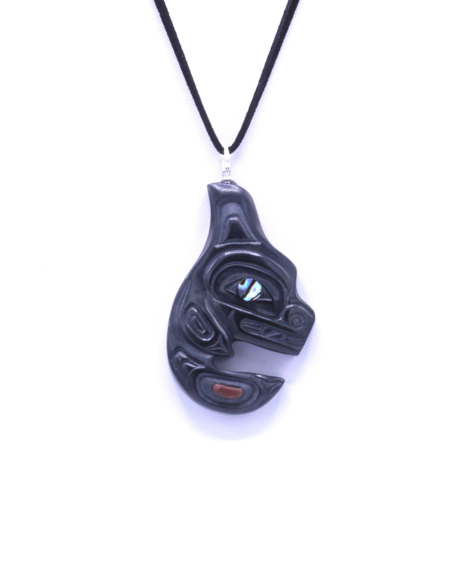 Argillite Pendant with Catlinite & Abalone by Gryn White - GWP02