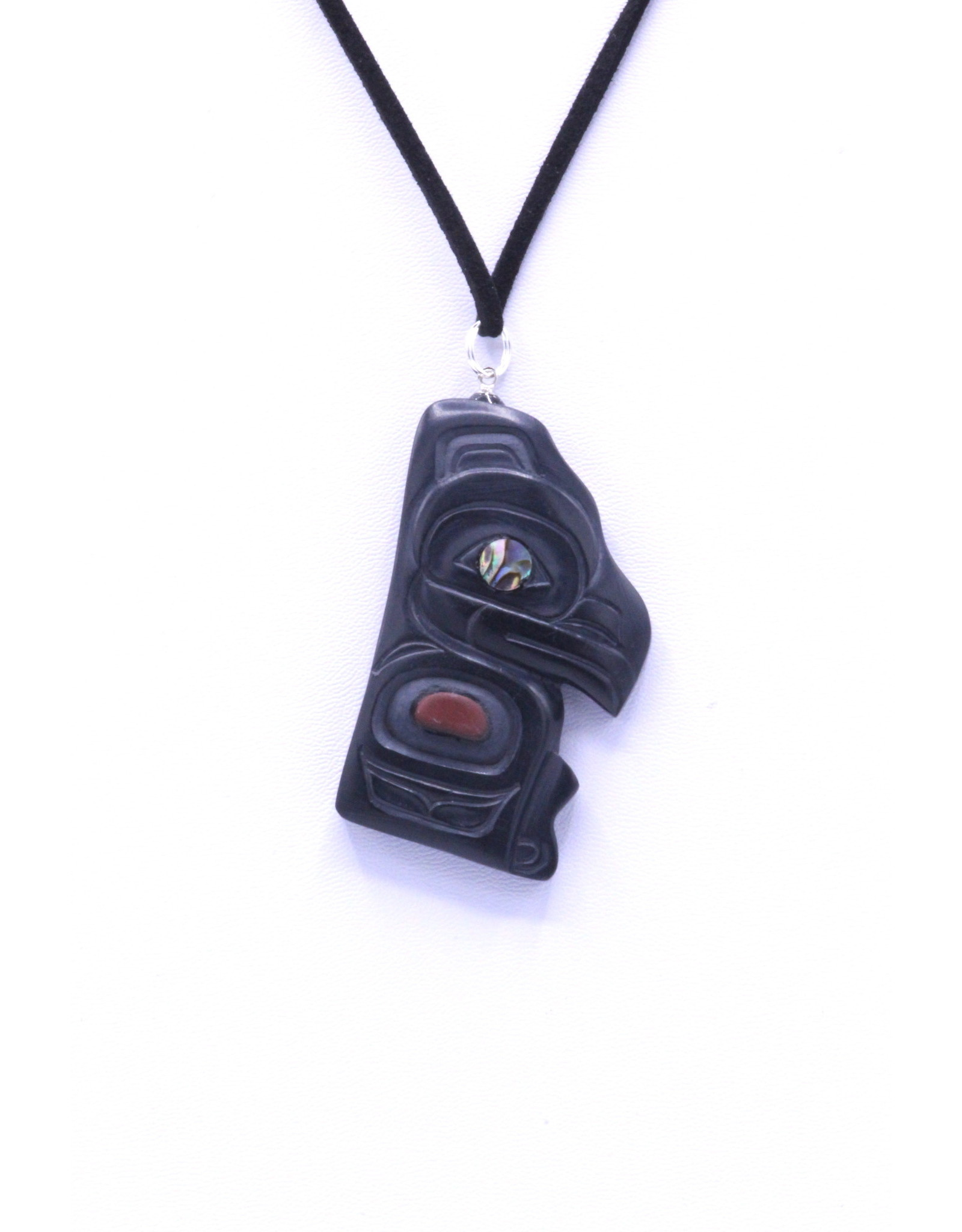 Argillite Pendant with Catlinite & Abalone by Gryn White - GWP04