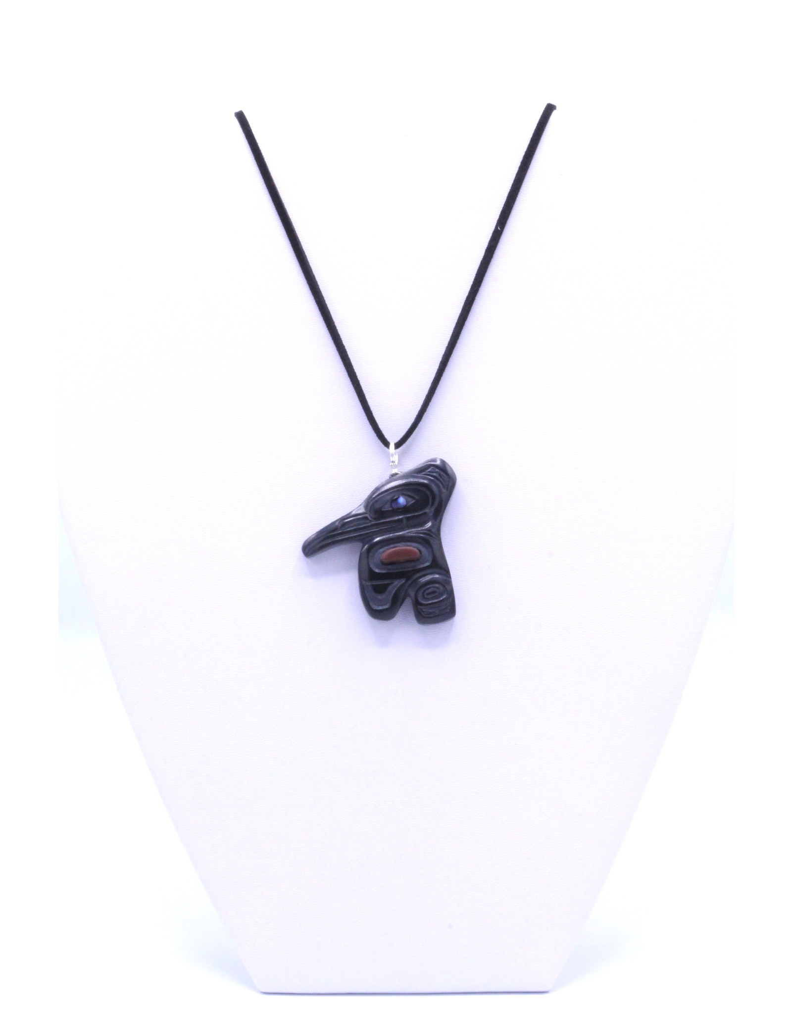 Argillite Pendant with Catlinite & Abalone by Gryn White - GWP01