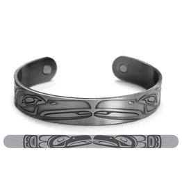 Haida Cuffs Brushed Silver - Raven by Paul Windsor