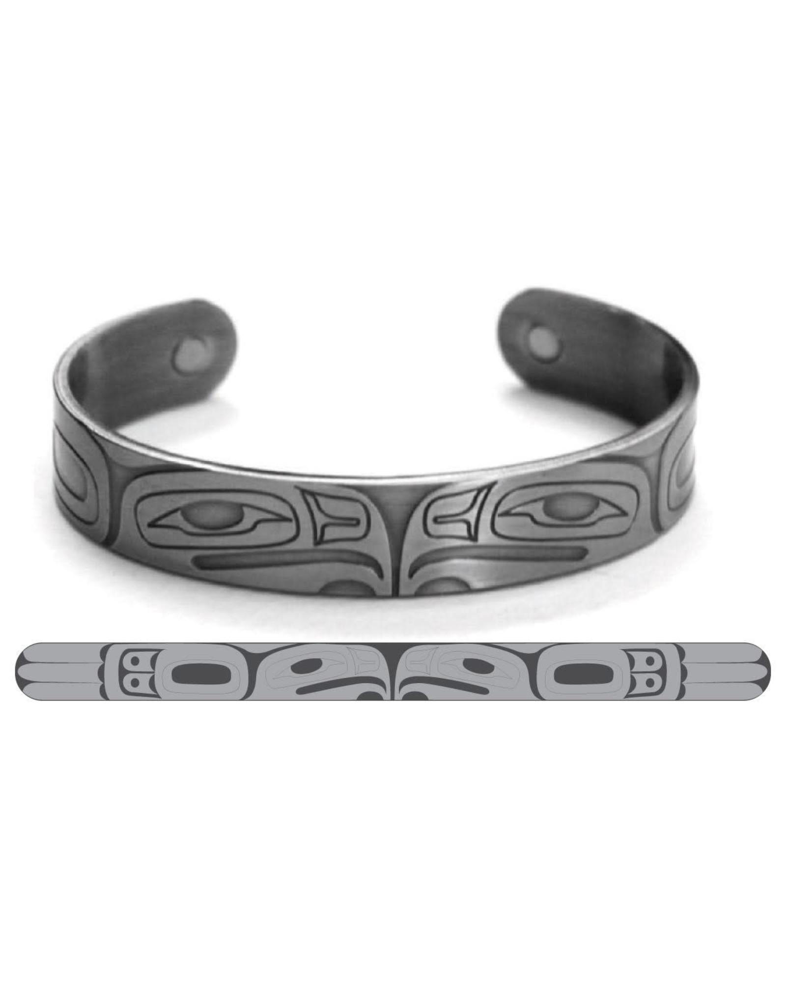 Haida Cuffs Brushed Silver Eagle by Gordon White - ABR7