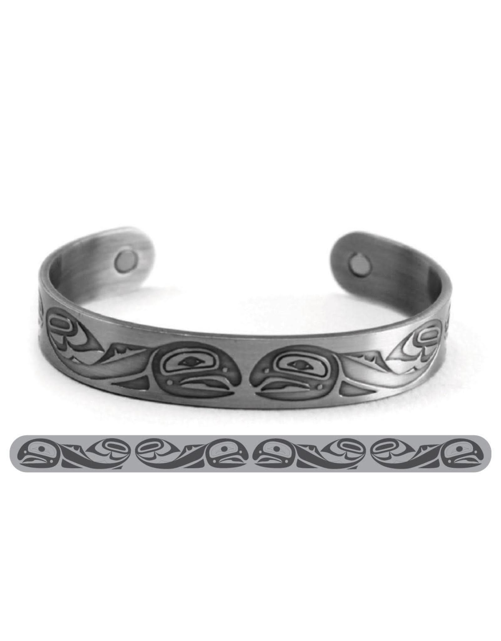 Haida Cuffs Brushed Silver Salmon by Paul Windsor - ABR11