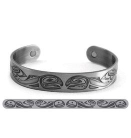 Haida Cuffs Brushed Silver Salmon by Paul Windsor