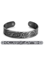 Haida Cuffs Brushed Silver - Eagle Raven by Corey M. - ABR3