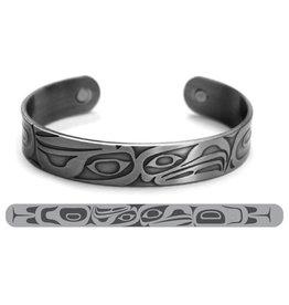 Haida Cuffs Brushed Silver - Eagle Raven by Corey M.