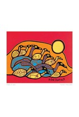 Flock of Loons by Norval Morrisseau Matted