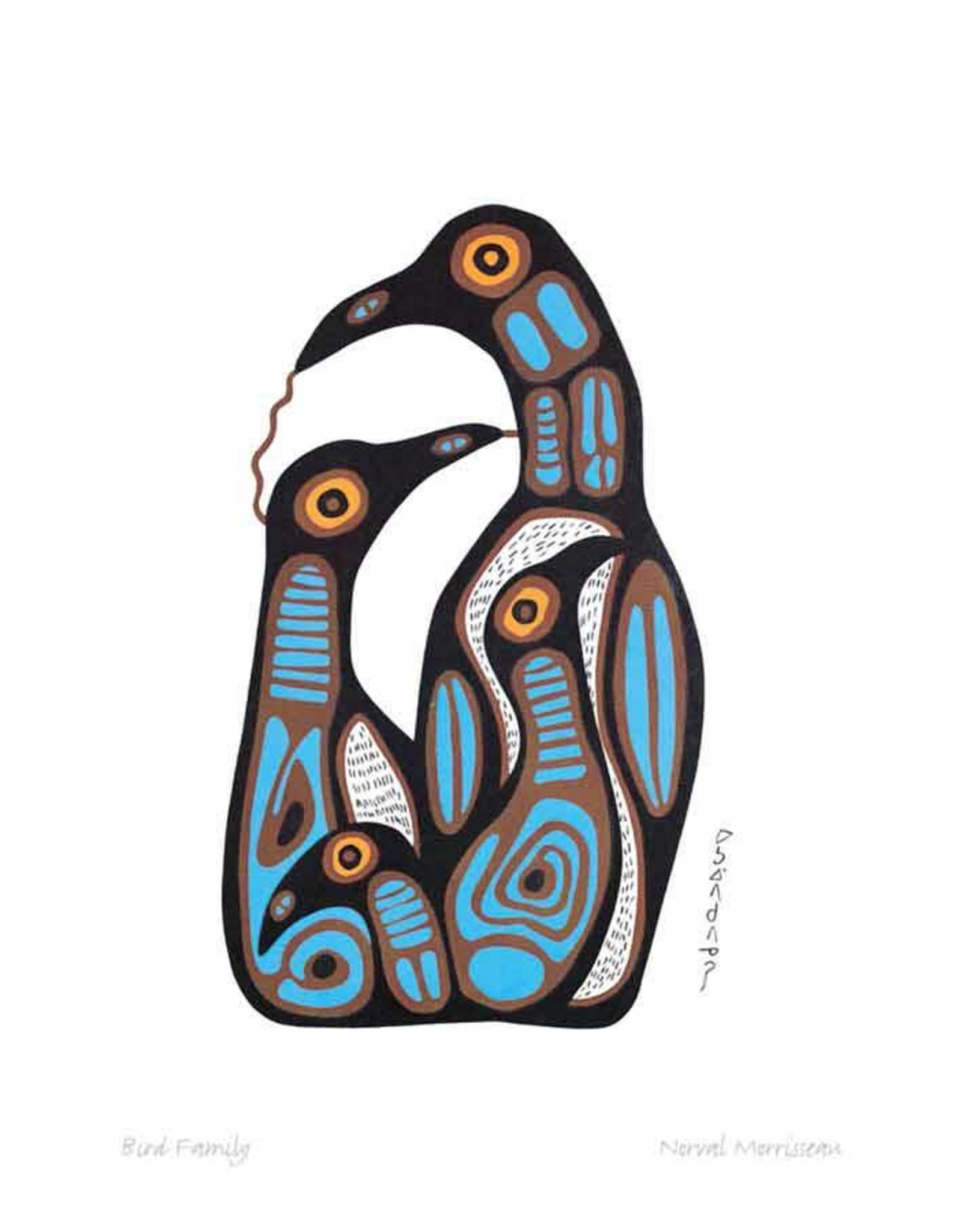 Bird Family by Norval Morrisseau Matted