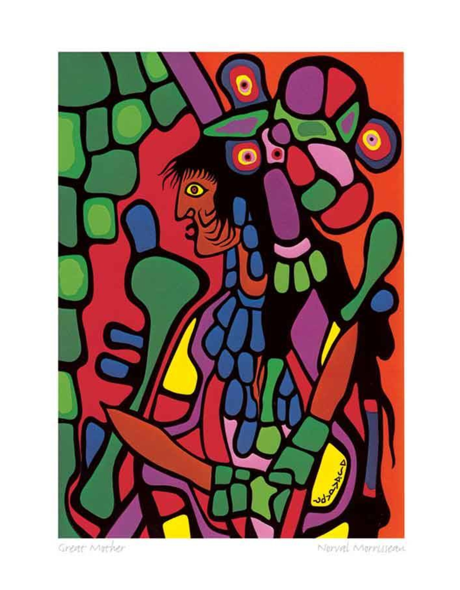Great Mother by Norval Morrisseau Matted