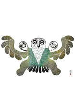 Owl With Chicks by Mary Kudjuakju Matted