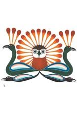 Sunburst Owl, 2002 by Kenojuak Ashevak Framed