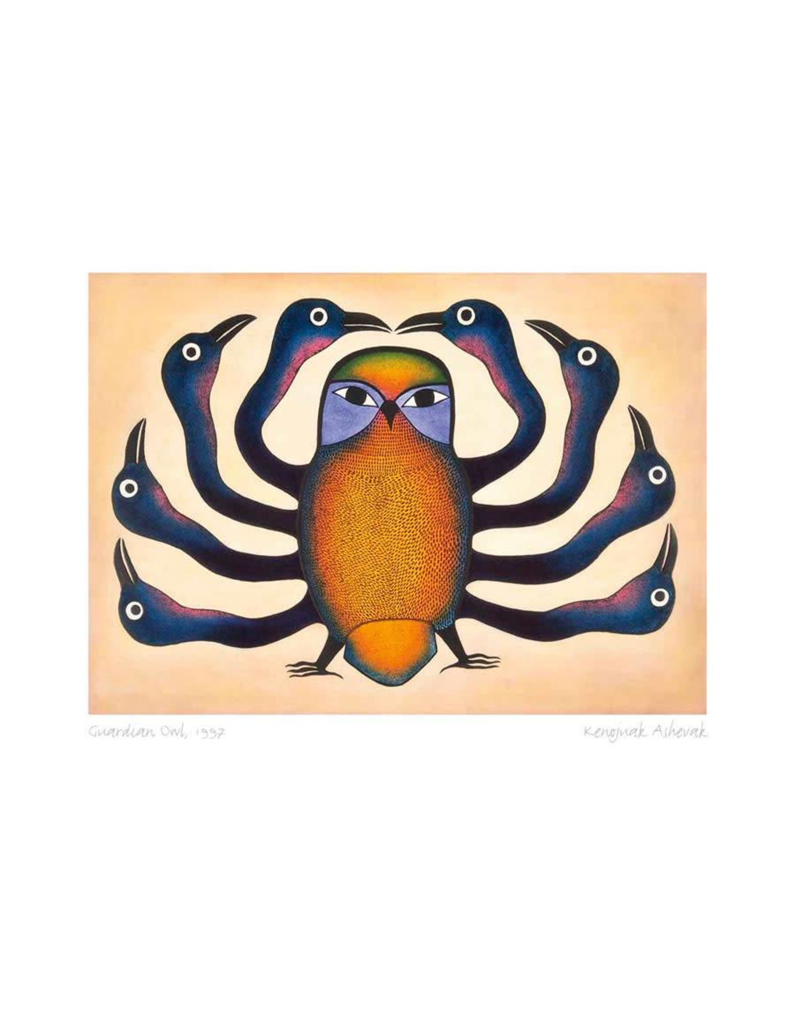 Guardian Owl, 1997 by Kenojuak Ashevak Framed