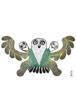 Owl With Chicks by Mary Kudjuakju Framed