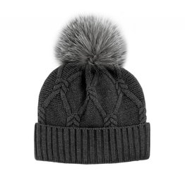 Wool Knit Hat Fox Pom-Pom