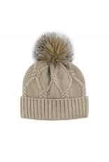 Wool Knit Hat Fox Pom-Pom