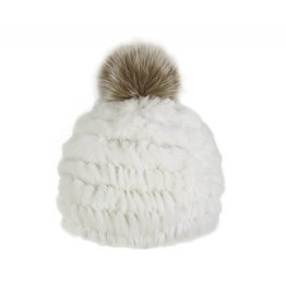 Rabbit Fur Hat Fox Pom-Pom