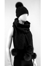 Wool Knit Scarf Fox Trim