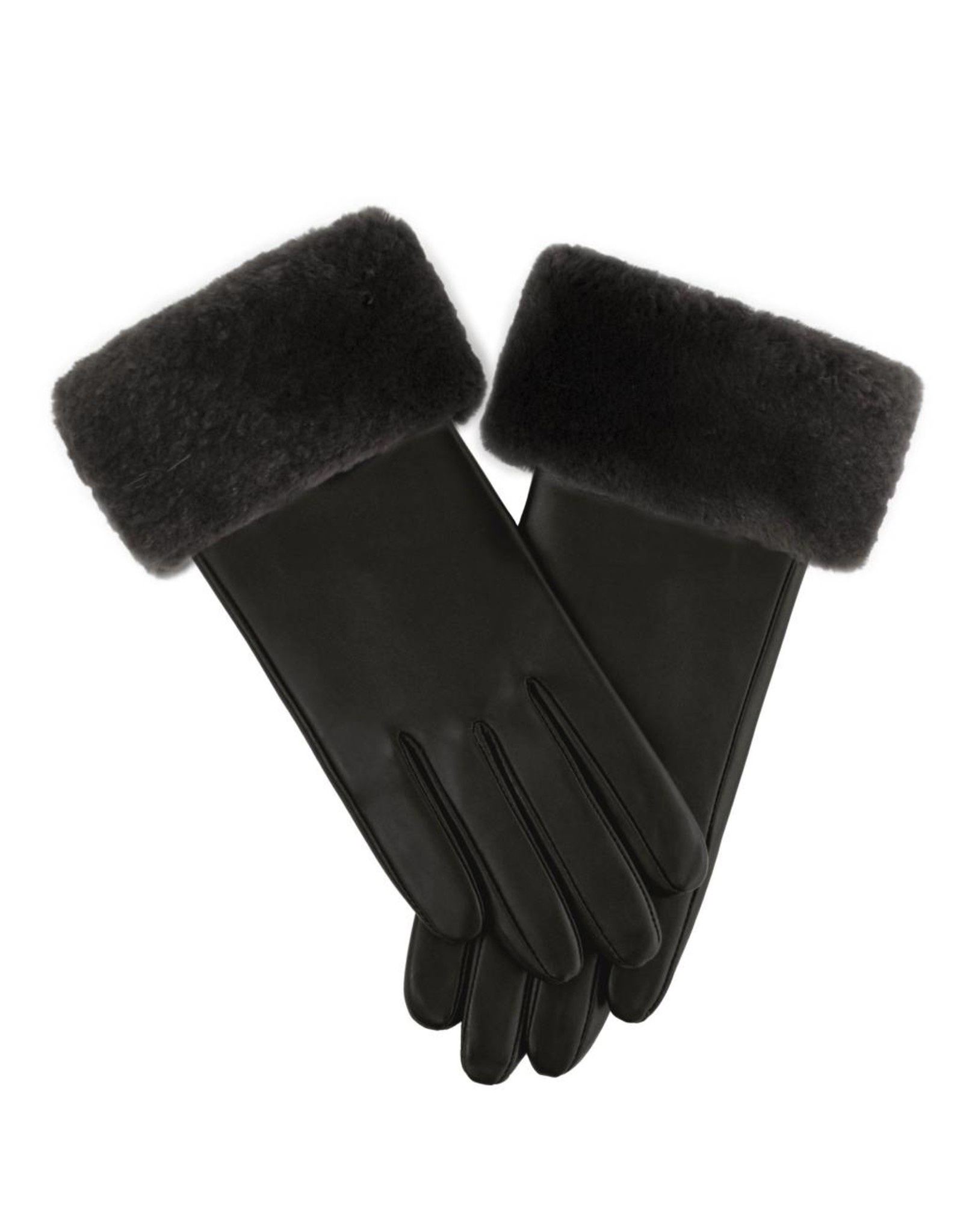 Sheared Beaver Trim Leather Gloves