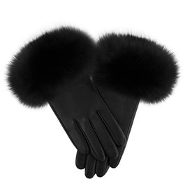 Fox Trim Leather Gloves