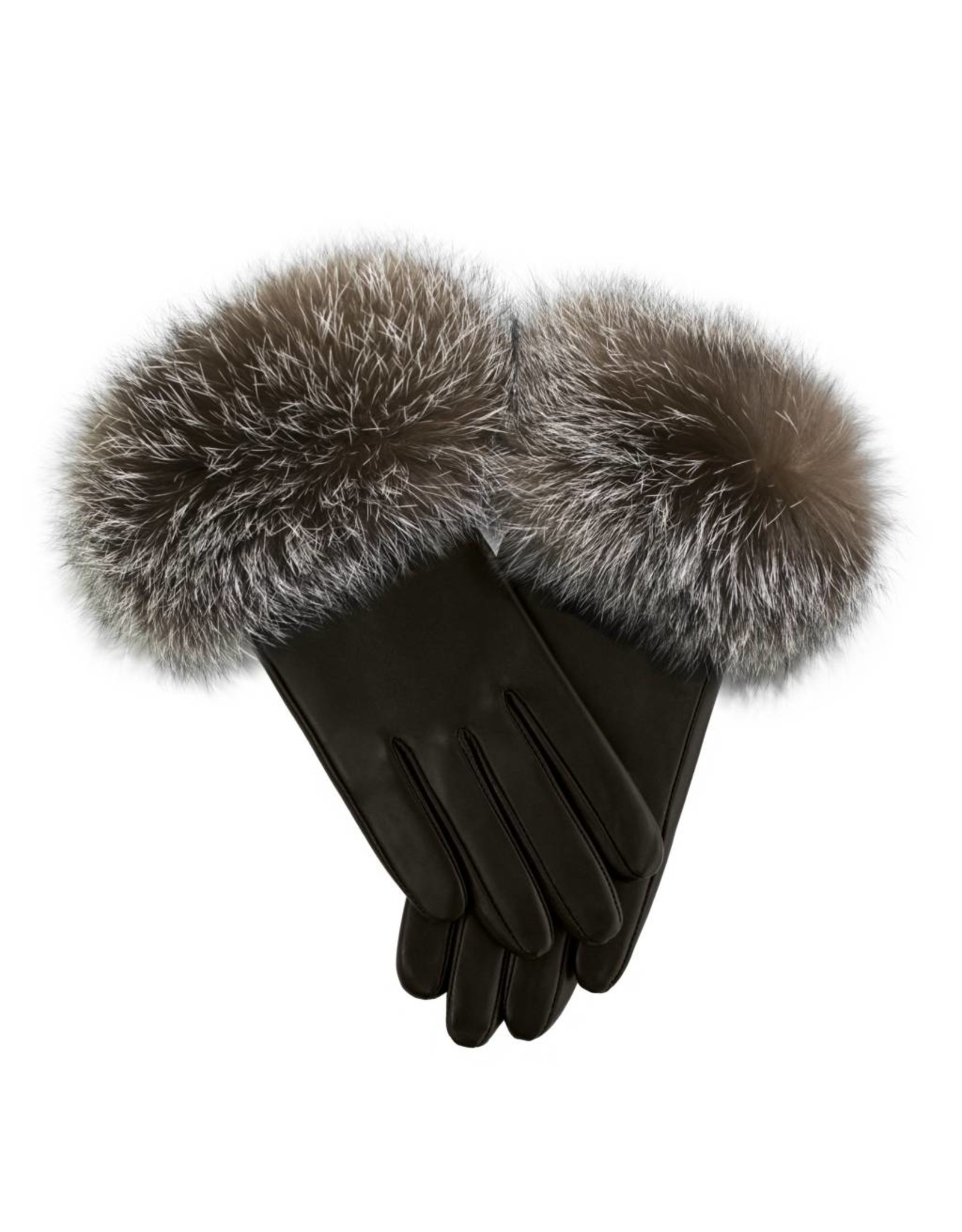 Fox Trim Leather Gloves