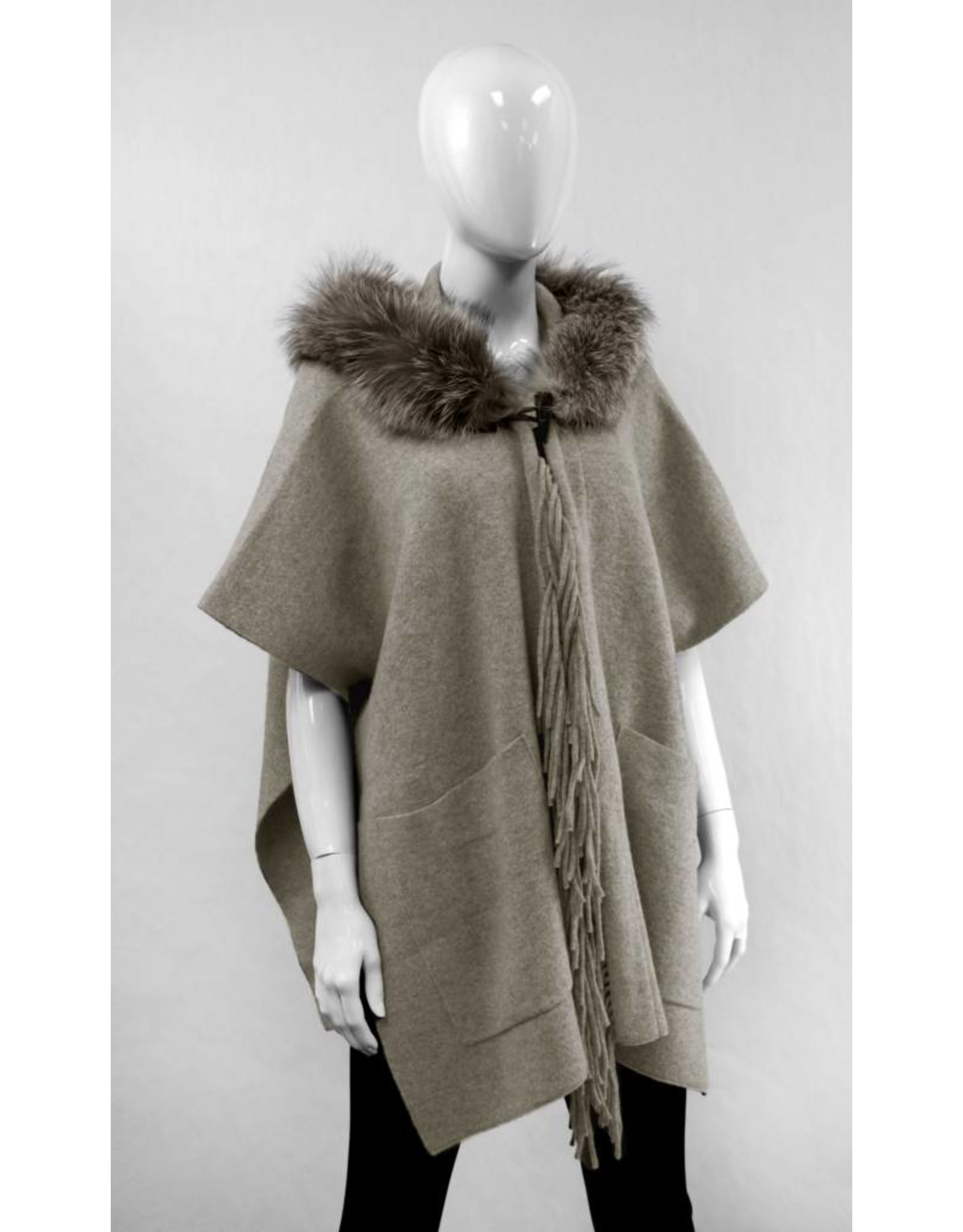 Wool Knit Fox Hooded Wrap