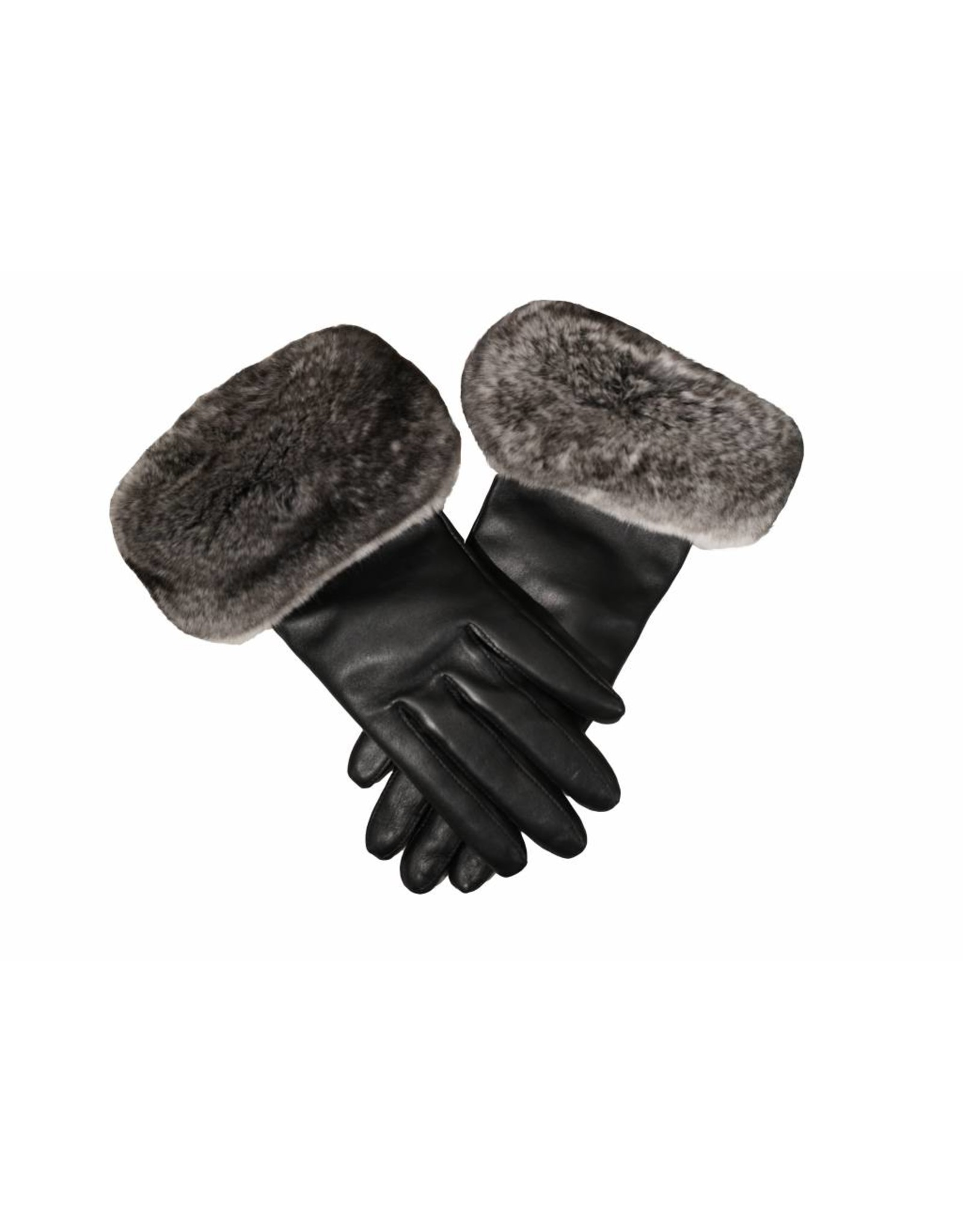 Chinchilla Trim Leather Gloves