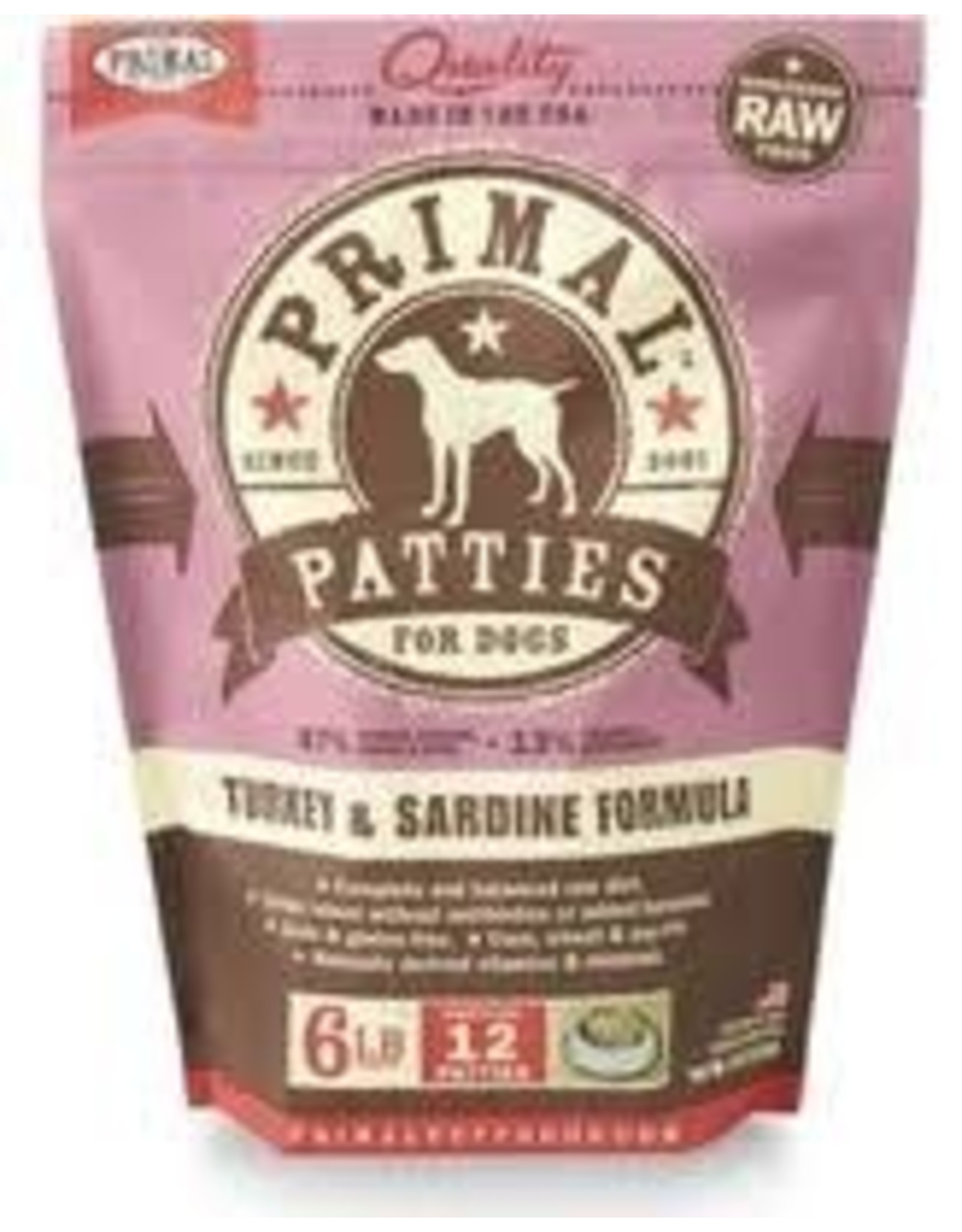 PRIMAL PRIMAL TURKEY AND SARDINE PATTIES 6#