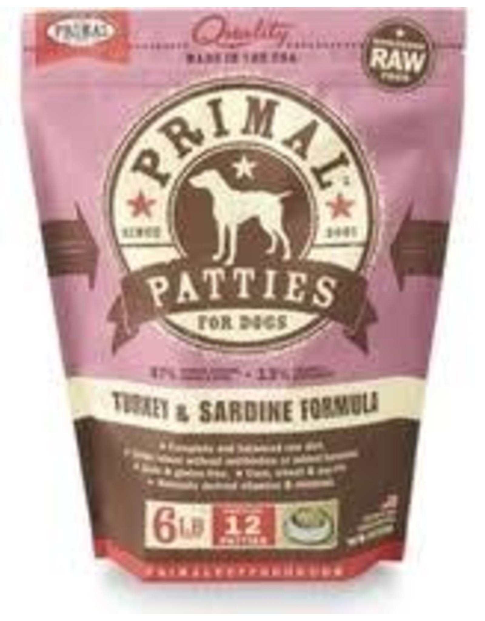 PRIMAL PRIMAL TURKEY AND SARDINE PATTIES 6#