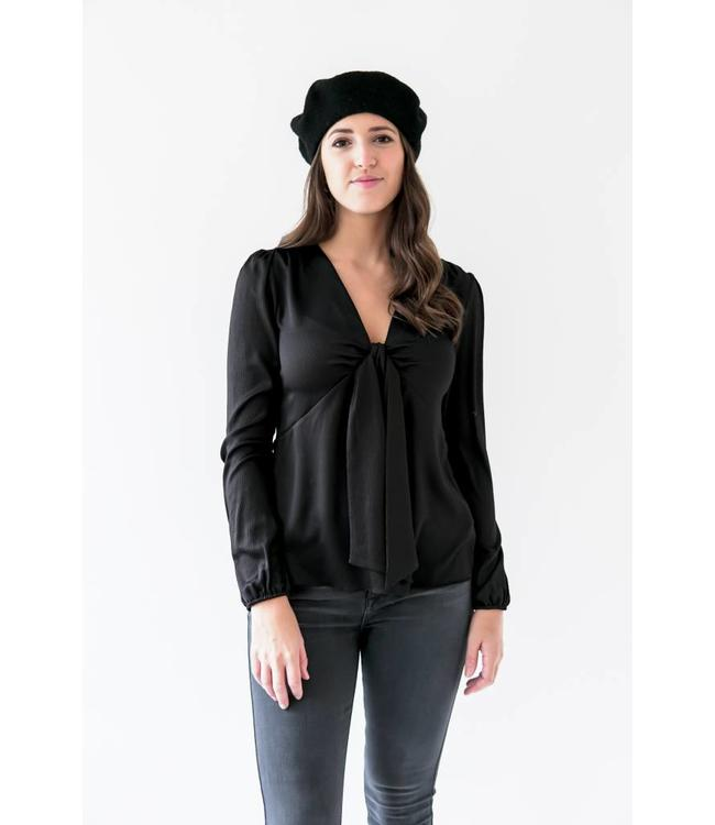 MICHAEL KORS VNECK TIE TOP - AMZ - BLACK