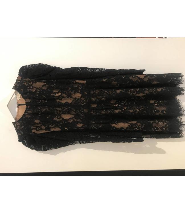 MICHAEL KORS MESH FLORAL DRESS - E92T - BLK