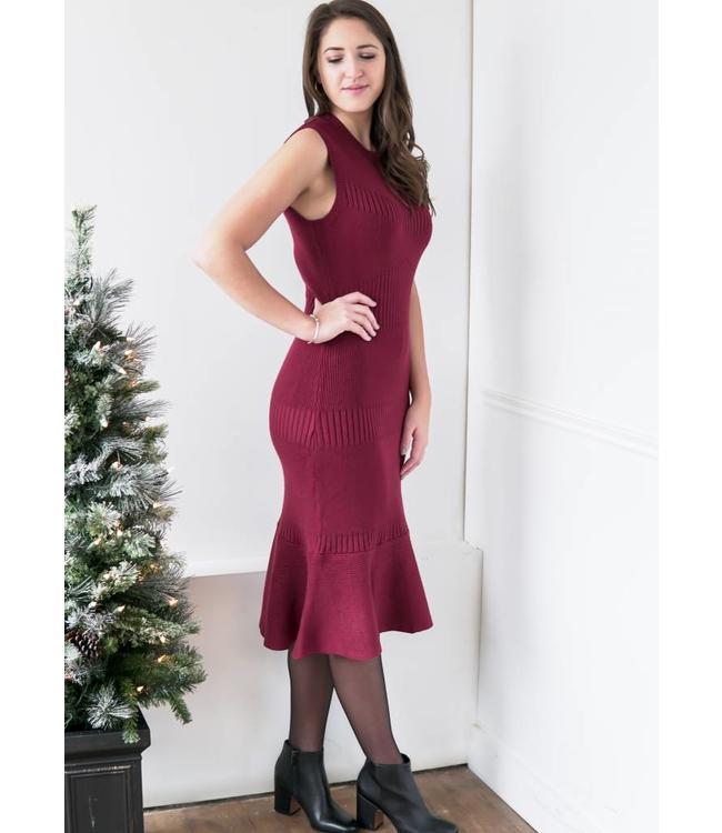 ADELYN RAE INES KNIT DRESS - 3978 - CABERNET