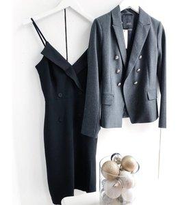 ADELYN RAE TUXEDO DRESS - 3941 - BLACK