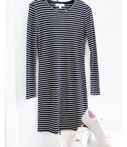 MICHAEL KORS LS STRIPE TEE DRESS - AAR - NAVY WHITE