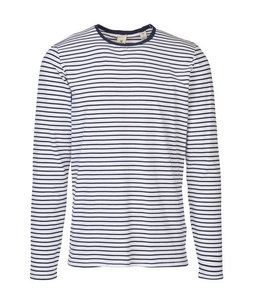 SCOTCH AND SODA STRIPE LS CREWNECK - 249 - NAVY WHT