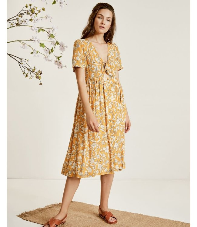 SUNCOO CARLA DRESS - 242 - YELLOW FLORAL