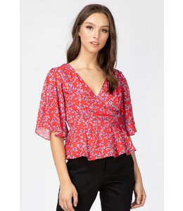 ADELYN RAE APRIL BLOUSE - 1640 - HIBISCUS